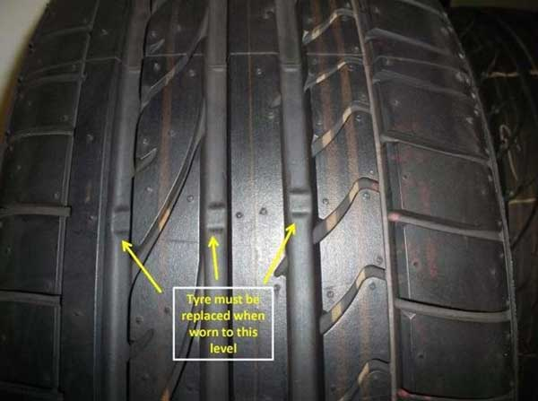 faded tyre tread should be replaced